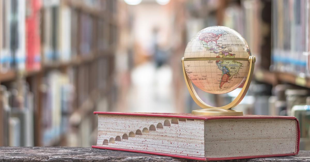 globe in library